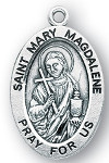 Saint Mary Magdalene Oval Sterling Silver Medal