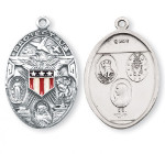 Sterling Silver Oval Military Medal